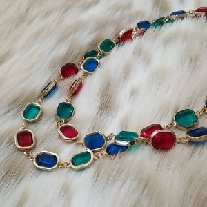 Gorgeous Jewel Tone Gemstone Chain Necklace
